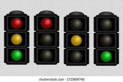 Traffic light. Set of traffic lights with red, yellow and green color on a transparent background. Isolated vector illustration. EPS 10
