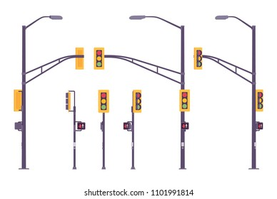 Traffic light set. Modern city system of colored light controlling traffic at crossroads, junctions, directing road signal. Landscape architecture, urban design. Vector flat style cartoon illustration