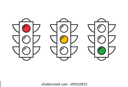Traffic Light Set. Thin line vector buttons. Semaphore sequence, red, yellow, green light vector illustration.