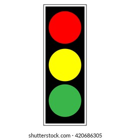 Traffic light sign. Icon stoplight in black rectangle on white background. Symbol regulate safety. Regulation and  warning mark. Flat vector image. . Vector illustration.