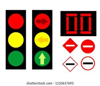 Traffic Light & Sign Illustration