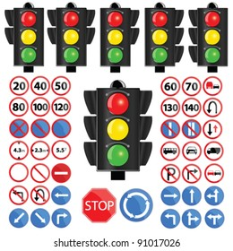 traffic light and traffic sign vector illustration on white background