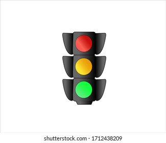 Traffic Light Sign Vector Red Green Yellow Light Logo.  Traffic light outline vector on white background. Flat traffic sign icon for mobile concept and web apps design