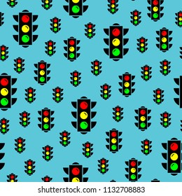 Traffic light signals. Semaphore design. Colorful flat design traffic lights seamless pattern background. Red, amber and green traffic lights icons for your design. Vector illustration