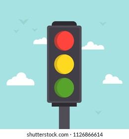 Traffic light sky background. Traffic light cartoon. Vector stock.