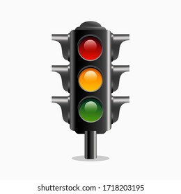 Traffic light vector icon clipart in realistic 3d vector illustration style , isolated on white background