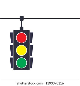 Traffic light, vector illustration on white blackground