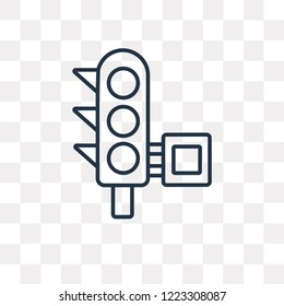 Traffic light vector outline icon isolated on transparent background, high quality linear Traffic light transparency concept can be used web and mobile