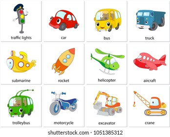 Traffic lights, car, bus, truck, submarine, rocket, helicopter, aircraft, trolleybus, motorcycle, excavator, crane. Illustration for learning english words