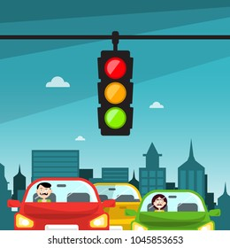 Traffic Lights in City. Cars with Buildings on Background.