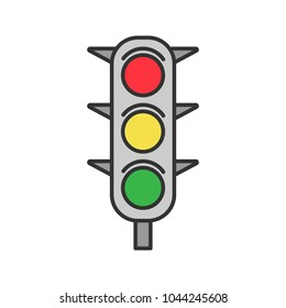 Traffic lights color icon. Traffic semaphore. Stop lights. Isolated vector illustration