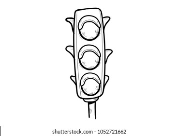 traffic lights doodle icon doodle vector