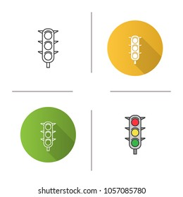 Traffic lights icon. Traffic semaphore. Stop lights. Flat design, linear and color styles. Isolated vector illustrations