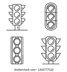 Traffic lights icons set. Outline set of traffic lights vector icons for web design isolated on white background