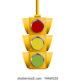 Traffic lights isolated over white square background