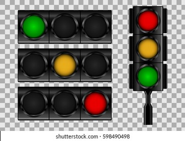 Traffic lights on transparent vector background.