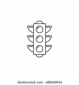 Traffic lights Outline vector icon. Contour line black pictogram on white background. Illustration symbol