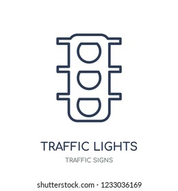 Traffic lights sign icon. Traffic lights sign linear symbol design from Traffic signs collection. Simple outline element vector illustration on white background