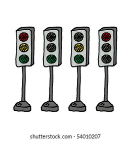 Traffic lights sketch. Vector