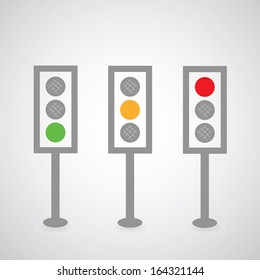 Traffic lights symbol on gray background