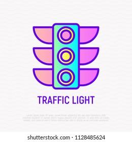 Traffic lights thin line icon. Modern vector illustration of stoplight.