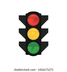 Traffic lights vector icon front view