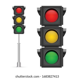 Traffic lights vector illustration isolated on white background