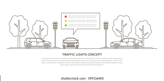 Traffic lights vector illustration. Street semaphores with cars creative line art concept. Electric stoplights (traffic lamps) graphic design.