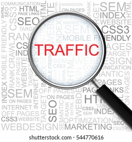 Traffic. Magnifying glass over seamless background with different association terms.