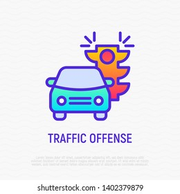 Traffic offence thin line icon: car is riding on red traffic light. Modern vector illustration.
