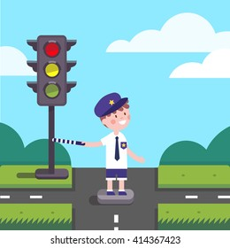 Traffic officer cop kid working on road crossing with a traffic-light.  Modern flat style illustration. Cartoon character clipart.
