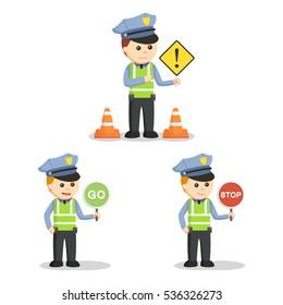 traffic officer set illustration design