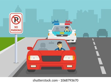 Traffic police car honking to a red car in no parking area with road sign. Flat vector illustration.