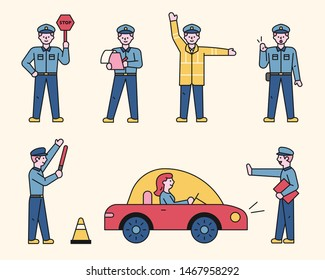 Traffic police character is doing various works. flat design style minimal vector illustration.