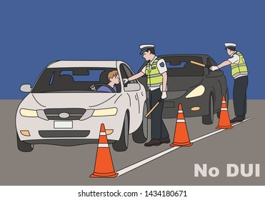Traffic police are cracking down on drinking on the road. hand drawn style vector design illustrations.