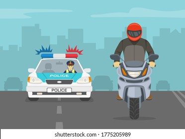Traffic police officer chasing criminal riding a motorcycle on the highway. Flat vector illustration.