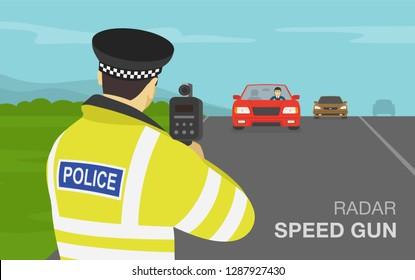 Traffic police officer holding a radar speed gun on highway. Back view. Flat vector illustration.