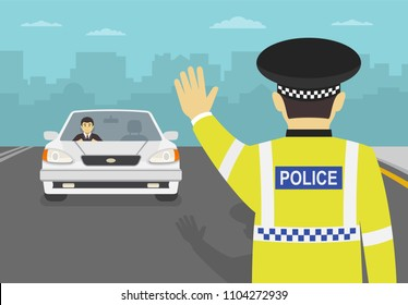 Traffic police officer stops the car and blocked the road. Standing in front of car. Flat vector illustration.