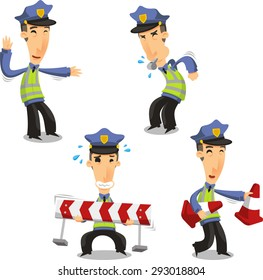 Traffic Police with whistle cone and barrier