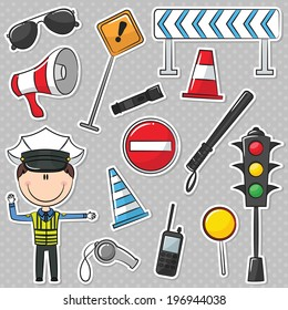Traffic Policeman With Different Useful Tools