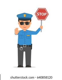 Traffic policeman holding a stop sign. Cartoon character policeman isolated on white background. Vector illustration police officer in modern flat style.
