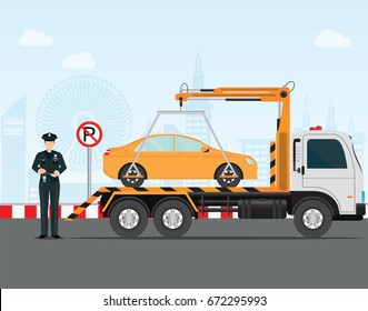 Traffic policeman writing a parking ticket to car in no parking area and tow away no parking sign, vector illustration .