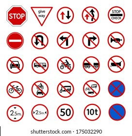 traffic prohibition sign for warming on road and safety street sign, vector icon set