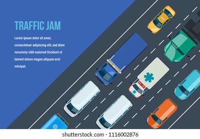 Traffic road jam. Automobile traffic around the city and highway, motorway. Multi-lane road with one-way traffic. Types of cars and public city transport urban vehicle, car fleet. Vector illustration.