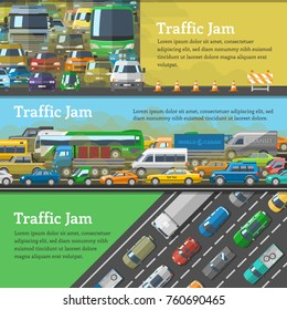 Traffic road jam vector transportation problems illustration at night and day city transport urban vehicle traffic-jam highway auto car on roads pollution and stress