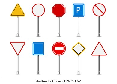 Traffic road realistic signs. Signage signal warning sign stop danger caution speed highway empty parking street board vector set