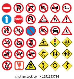 Traffic road signs set isolated Vector Illustation