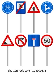 Traffic road signs set on a white background.