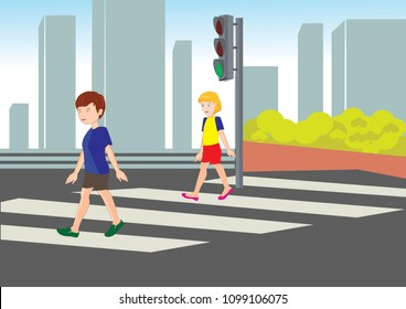 traffic rules. children in green light. green yellow red