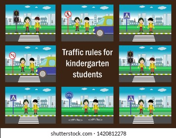 Traffic rules for kindergarten students. red, yellow and green light. traffic education. traffic rules for children. Traffic signs. children using pedestrian crossing.